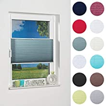 'K Master Palma Klemmfix Pleated Blind with Sun Protection Fabric, Teal, Fabric, petrol, 80 x 130 cm