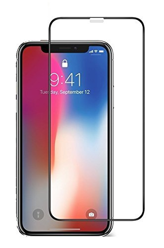 iTrue Premium Edge to Edge - Full Glue, No Rainbow, Full Front Body Cover Tempered Full Glass Screen Protector Guard for iPhone X - Black