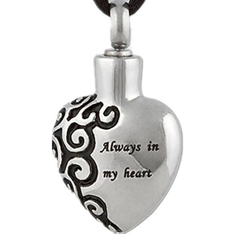 Gudeke Acero inoxidable siempre en mi corazón Urna de los colgantes de las botellas de perfume para mascotas urnas Collar