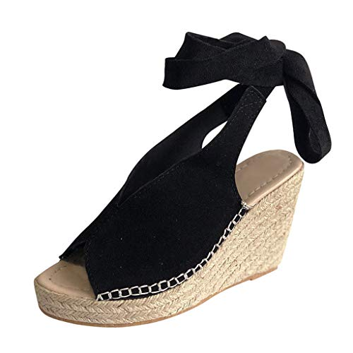 B-COMMERCE Damenmode Open Toe Krawatte Lace Up Espadrille Platform Wedges, Sommer Knöchelriemen Slingback Kleid Schuhe für Elegante Laides Penny-plattform Sandal