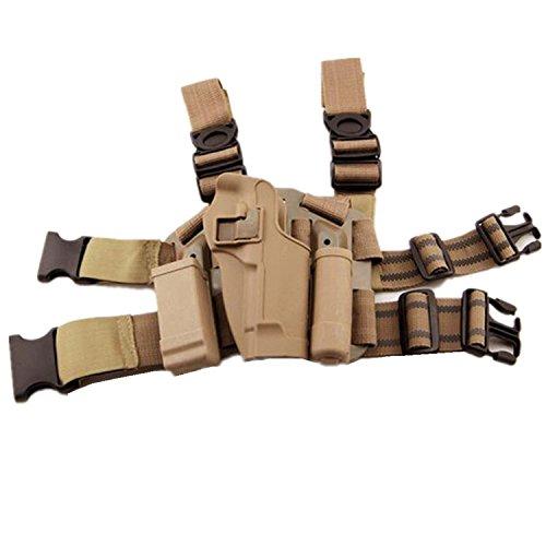H Welt EU Taktische Airsoft Right Leg Paddel Gürtel Oberschenkel Hand Drop Holster Schwarz für M9 M92 (DE) -