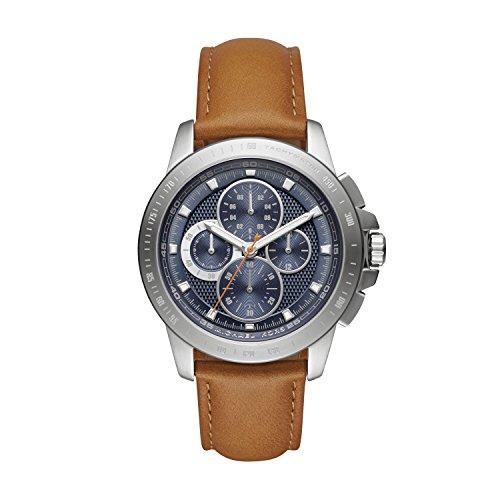 Michael Kors Ryker - Reloj análogico de cuarzo con correa de cuero para hombre, color marrón/azul
