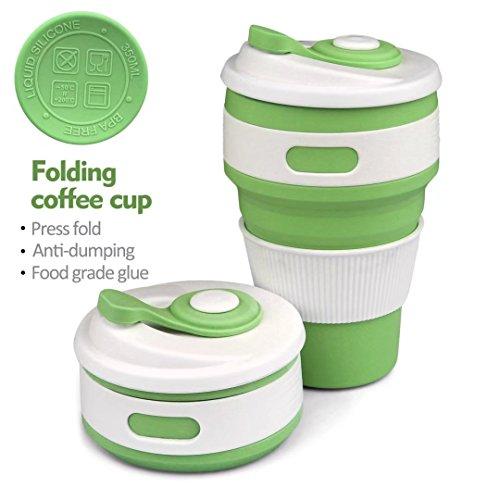 Coffee to go Becher, 350 Ml Zusammenlegbare Silikon Kafeetasse,Faltbarer Tragbarer Auslaufsicher Kaffeebecher Trinkbecher Und Praktischer Reisebecher FüR Unterwegs, Camping, Radfahren