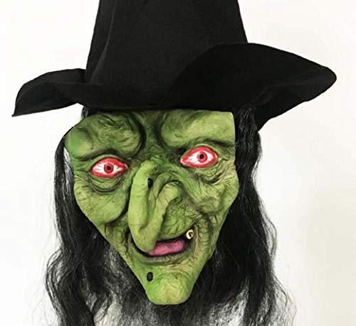 Kostüm Cosplay Gruppe - ZTYD Halloween Maske Langes Haar Hexe 3 Teilig Kostüm mit Schwarzem Hut Horror Cosplay Scary Latex Realistische Gesichtsmaske Party Kostüm Requisiten für Erwachsene, Schwester Gruppe