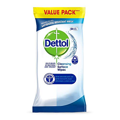 Dettol Antibacterial Surface Cleaning Disinfectant Wipes, 252 Wipes, Pack of 3 x 84