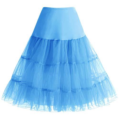 (bbonlinedress Organza 50s Vintage Rockabilly Petticoat Underskirt Blue XL)