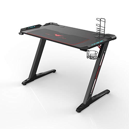 Eureka Ergonomic Z1-S Gaming Desk - Gaming Computer Desk, Gaming Table PC Gaming Desk mit LED-Leuchten, Kohlefaser, Getränkehalter und...