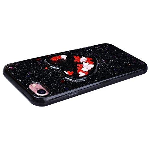 HB-Int Hülle für iPhone 7 Weich Silikon Back Cover Bling Glitter Schutzhülle Schwarz Flexible Dünn Case Herz Pailletten Full Body Bumper Shell Handytasche Schwarz