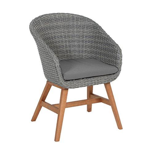 greemotion Rattansessel Madeira für Balkon, Garten & Terrasse-Rattanstuhl grau-Outdoor Stuhl aus Rattan mit Auflage Polster-Lounge Sessel mit Holzbeinen, 6,2 x 7,2 x 4,5 cm
