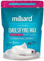 Milliard NON-GMO Emulsifying Wax Pastilles NF - 8 OZ. Resealable Freshness Storage Bag