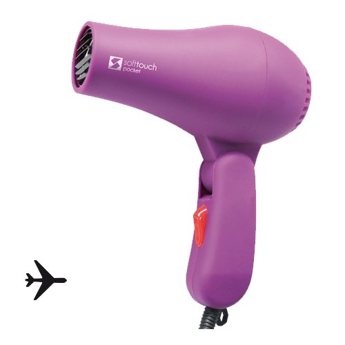 Perfect Beauty Soft Touch Pocket 800W - Secador mini de viaje, malva