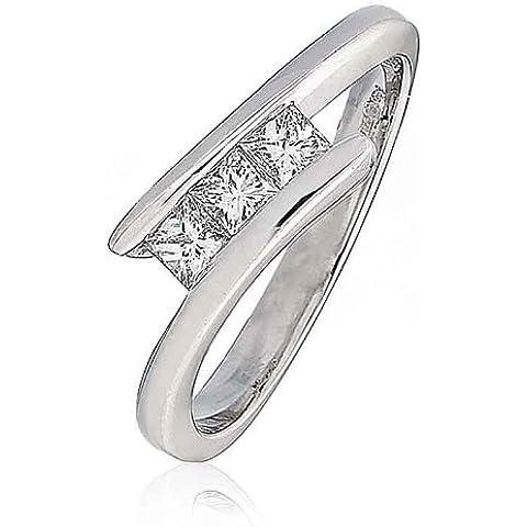 Anello trilogy tensione di diamanti taglio Princess G/VS2certificato 0,33carati in oro bianco 18K - Giallo Tensione In Oro Anello