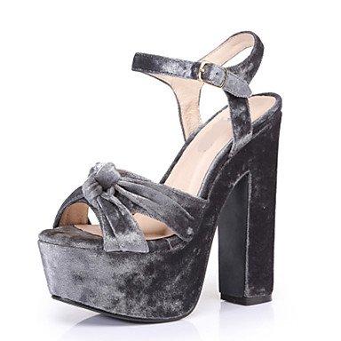 LvYuan Da donna-Sandali-Formale Casual Serata e festa-Altro-Zeppa-Velluto-Nero Grigio Rosa chiaro gray