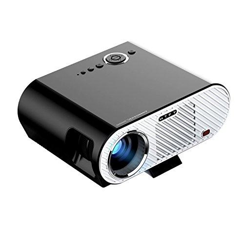 Portable 3000 Lumen LED-Video-Projektor Multimedia-Player für Office-Meeting Home-Theater Film-Unterstützung Smartphone / Laptop / TV-Spiel 1080p HD Schwarz