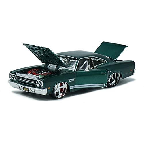 IVNGRI-Auto Model Automodell 1:24 Druckguss Plymouth GTX Simulation Hochdetailliertes Legierungsmodell Spielzeug, Sportwagensammlungsgeschenk, 20x10x8CM, Grün (Model Nissan Auto Kit)