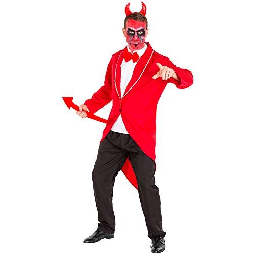 Aufwendiges Teufel Kostüm Herrenkostüm inkl. Frack, Muskelshirt mit aufgenähter Fliege, Hose & Haarreifen mit Teufelshörnern (L | Nr. (Outfit Süßes Halloween Ideen Paar)