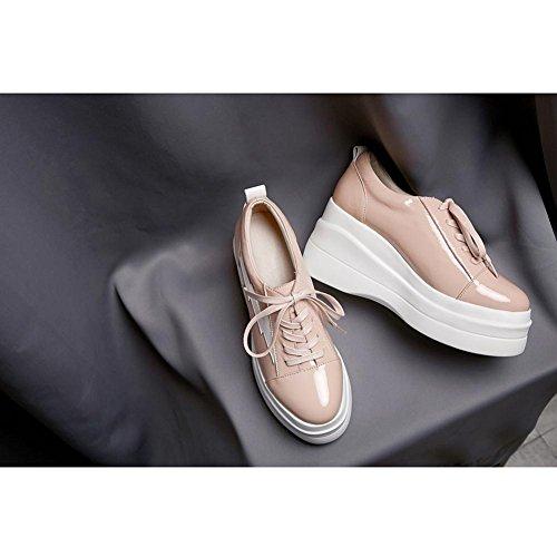 Chaussures à Plateformes Femme WSXY-A1711 Série Vintage Creepers Baskets Cuir Plateforme Double Semelles,KJJDE pink