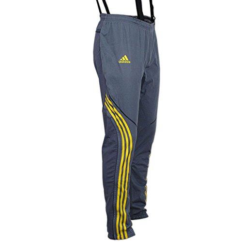 adidas Damen Athleten Hose DSV Aufwärmhose Biathlon Langlauf (grau-gelb, 42)