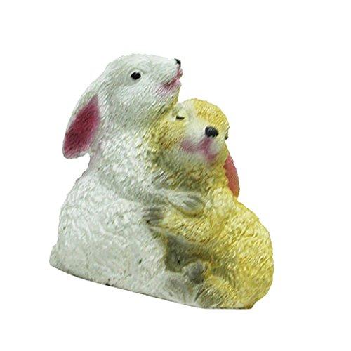 non-brand Sharplace Ornamento de Patio Frontones Decorativos Dosificadores de Aliño Especias Pintado - Pareja de conejo