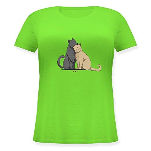 Shirtracer Katzen - Kuschelnde Katzen - Lockeres Damen-Shirt in Großen Größen mit Rundhalsausschnitt Hellgrün