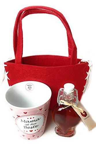 Geschenkset Tasse Mama ist die Beste in roter Filztasche mit Erdbeerlikör 4 cl in Herzflasche