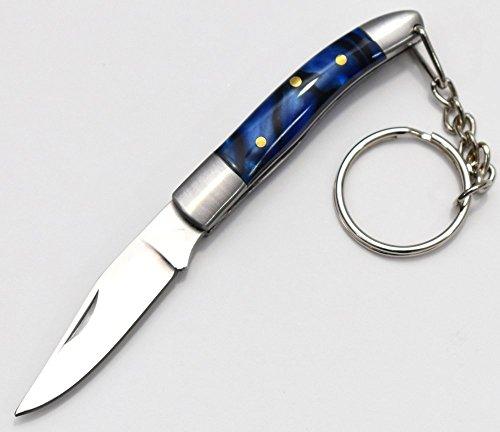 Deluxe Mini World Legal Taschenmesser Klappmesser mit Schlüsselanhänger Griff Marmor Effect - Blaues Klinge: 4.8cm -