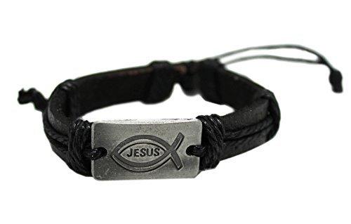 Black Colored Bracelet With Metal Plate Jesus Fish Inscribed