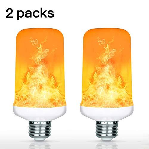 7W LED Flamme Effekt Glühbirne, YuamMei 4 Modi mit dem Kopf, E27 Basis Dekoration Flackerndes Feuer Licht für Halloween/Weihnachten / Zuhause/Bar / Restaurant/Party (2 Packs)