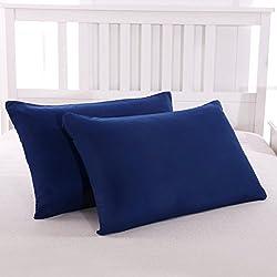 Mohap Lot de 2- Taies d'oreiller Bleu 50x70cm Housse d'oreiller avec Une Fermeture Eclair en Microfibre