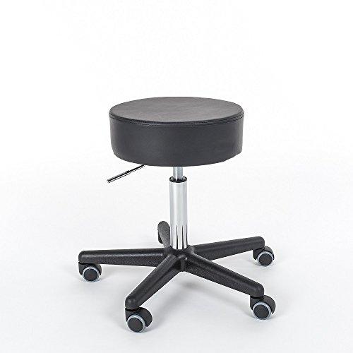 Rollhocker Fritz - 360° drehbar - stufenlos höhenverstellbar - 11,2 cm Polsterung - Arbeitshocker - Praxishocker - Bürohocker - Drehhocker