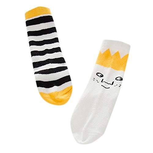 MAYOGO Socken Jungen Mädchen Babys Linke und rechte Füße Asymmetrie Socks Karikatur Krone Schwarz Streifen Strick Baumwoll Socke Midrohr Socken