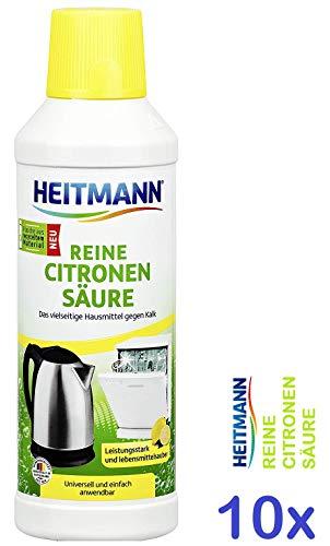 Heitmann Reine Citronensäure: löst hartnäckigen Kalk in Küche und Bad, vielseitiges Hausmittel zur Vorbeugung von Kalkablagerungen, universell anwendbar für regelmäßige, Öko Entkalkung, 10 x 500ml