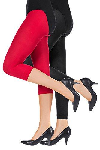 Ulla Popken Femme Grandes tailles longue taille haute Leggings coton tous coloris toutes les tailles actif pantalon sport pantalon Lot de 2 709241 Capri rouge, legging noir