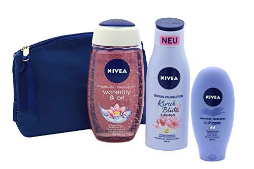 Nivea Geschenkset 4 tlg. für Frauen mit 1 x Kulturbeutel - 1 x Pflegelotion 200 ml - 1 x Handcreme 100 ml - 1 x Pflegedusche 250 ml Geschenkset für Sie
