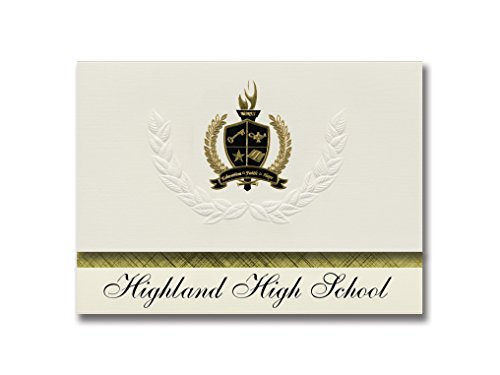 Signature Ankündigungen Highland High School (Pocatello, ID) Graduation Ankündigungen, Presidential Stil, Elite Paket 25 Stück mit Gold & Schwarz Metallic Folie Dichtung