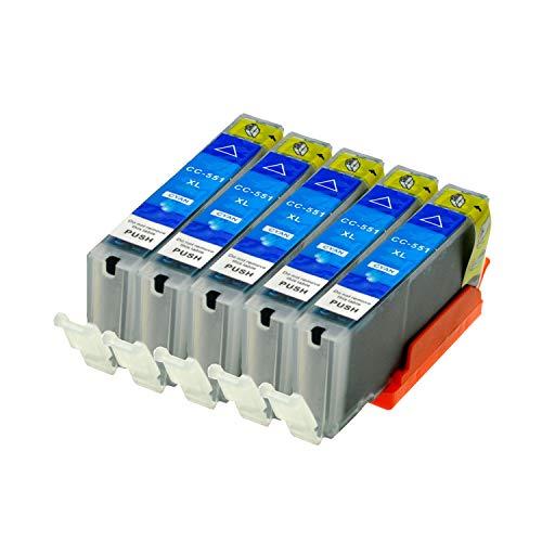 5 Druckerpatronen für Canon CLI-551C XL IP-7250 8750 IX-6850 MG-5450 5550 6350 6450 7150 MX-725 925, Cyan