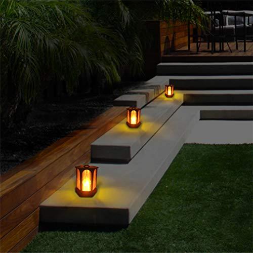 Mobestech Lanterna solare della candela, lanterna solare d'annata della Tabella della fiamma solare, lanterna d'attaccatura solare per il giardino esterno (1Pcs, nero)