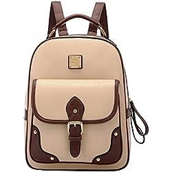 PIXNOR Estilo retro PU cuero mochila mochila escolar bolso para niñas de la mujer (caqui)
