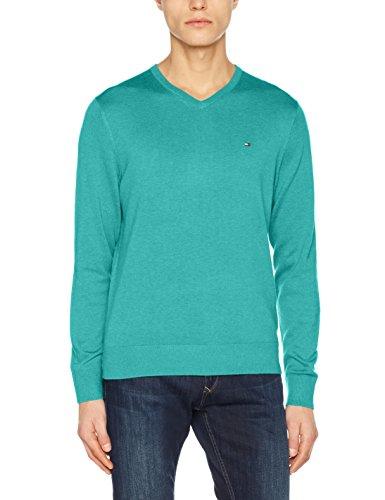 Tommy Hilfiger Herren Cotton Silk Vneck Pullover, Grün (Spectra Green Htr 301), Large -