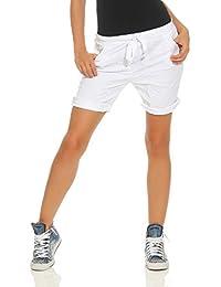 Damen Capri Hotpants Bermudahose verwaschene leichte Sweat Shorts Vintage-Look