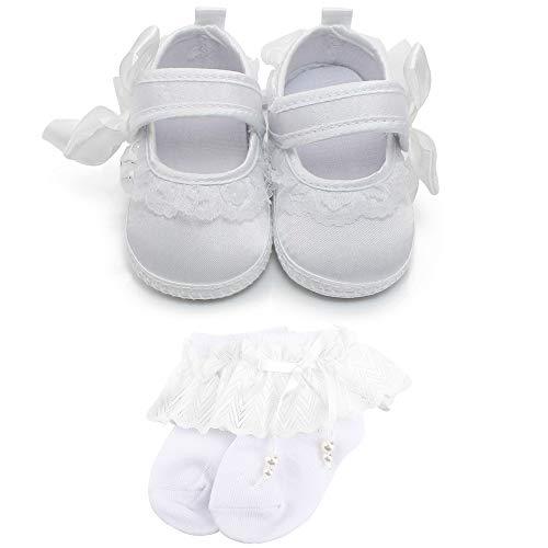OOSAKU Baby Mädchen Kleinkind Infant Spitze Floral Weiß Taufe Schuhe Neugeborenen Anti-Slip Prewalker Hausschuhe -