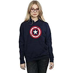 Marvel mujer Captain America Distressed Shield Capucha Medium Armada
