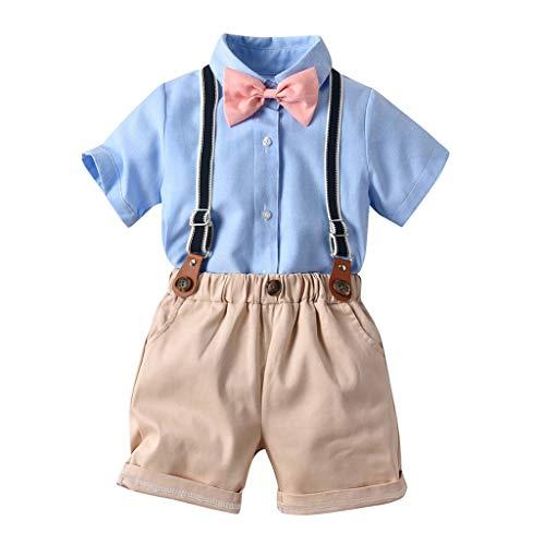 Beikoard Baby Kleidung Set Baby Jungen 2-Teiliges Strampler Smoking Gentleman Anzug Kurzarm Streifen Outfits Sommer Kleidung Jumpsuit Spielanzug Taufkleidung mit Fliege