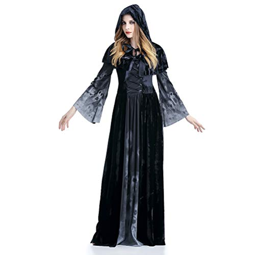 iHOY Frauen Demon Witch Skull Dress Halloween Skelett Kostüm Long Black Hooded Robe Kostüm Hexe Vampire Kostüm mit Schal (Farbverlauf ()