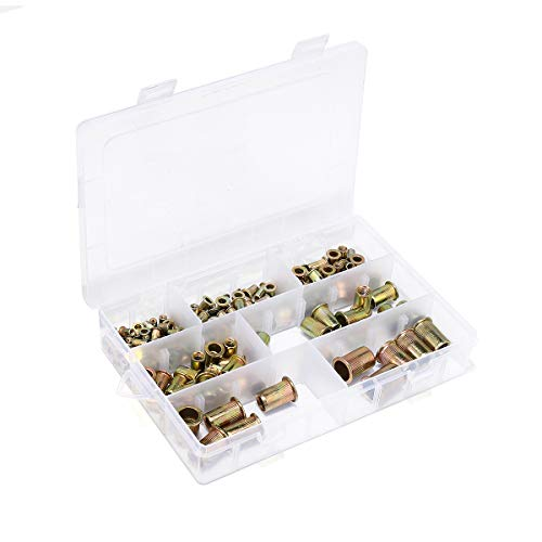 DyNamic 165Pcs Zink Plated Carbon Steel Rivet Nut Set Mixed Rivet Threaded Tool Carbon Steel Fleck