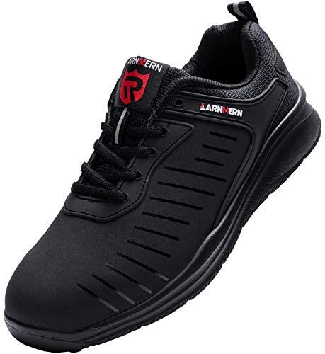 LARNMERN Sicherheitsschuhe Damen Herren Arbeitsschuhe, Leicht Stahlkappe Schuhe Reflektierend Sicherheitsstiefel Atmungsaktiv Industrie Schuhe Sicherheitssneaker LM-112, Dunkles Schwarz, 42 EU