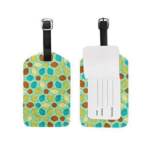 ALAZA Acquerello fiori e foglie d'epoca Etichetta bagaglio pu borsa di pelle Tag valigie di viaggio ID identificativo del bagaglio Etichetta