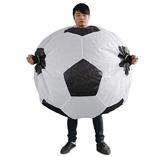 HHARTS Aufblasbares Fussball-Kostüm, lustiges rundes Aufblas-Kostüm für Halloween, Cosplay, Party, Weihnachten, Weiß
