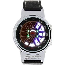 Waterproof Blue and White LED Light Uhr mit Black Kunstleder Armband (Display Time/Date/Week)