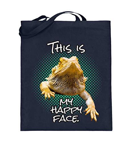 This Is My Happy Face Lustiges Sarkastisches Bartagamen Reptillien Echse Agamen T-shirt - Jutebeutel (mit langen Henkeln) -38cm-42cm-Deep Blue